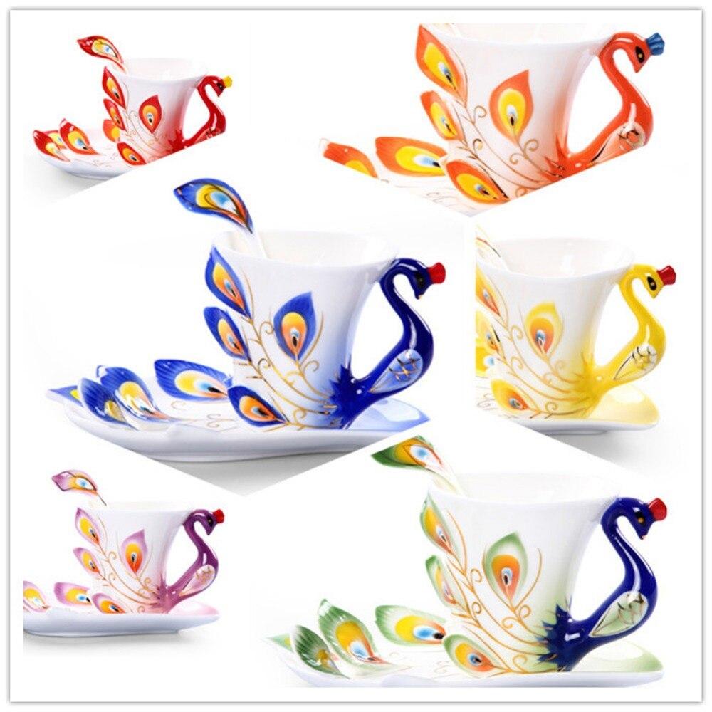 503ccc2985650a Kolekcjonowania sztuki wdzięku delikatne paw szkliwa porcelany filiżanka  kawy i herbaty zestaw z talerzykiem i łyżka romantyczny kreatywny prezent