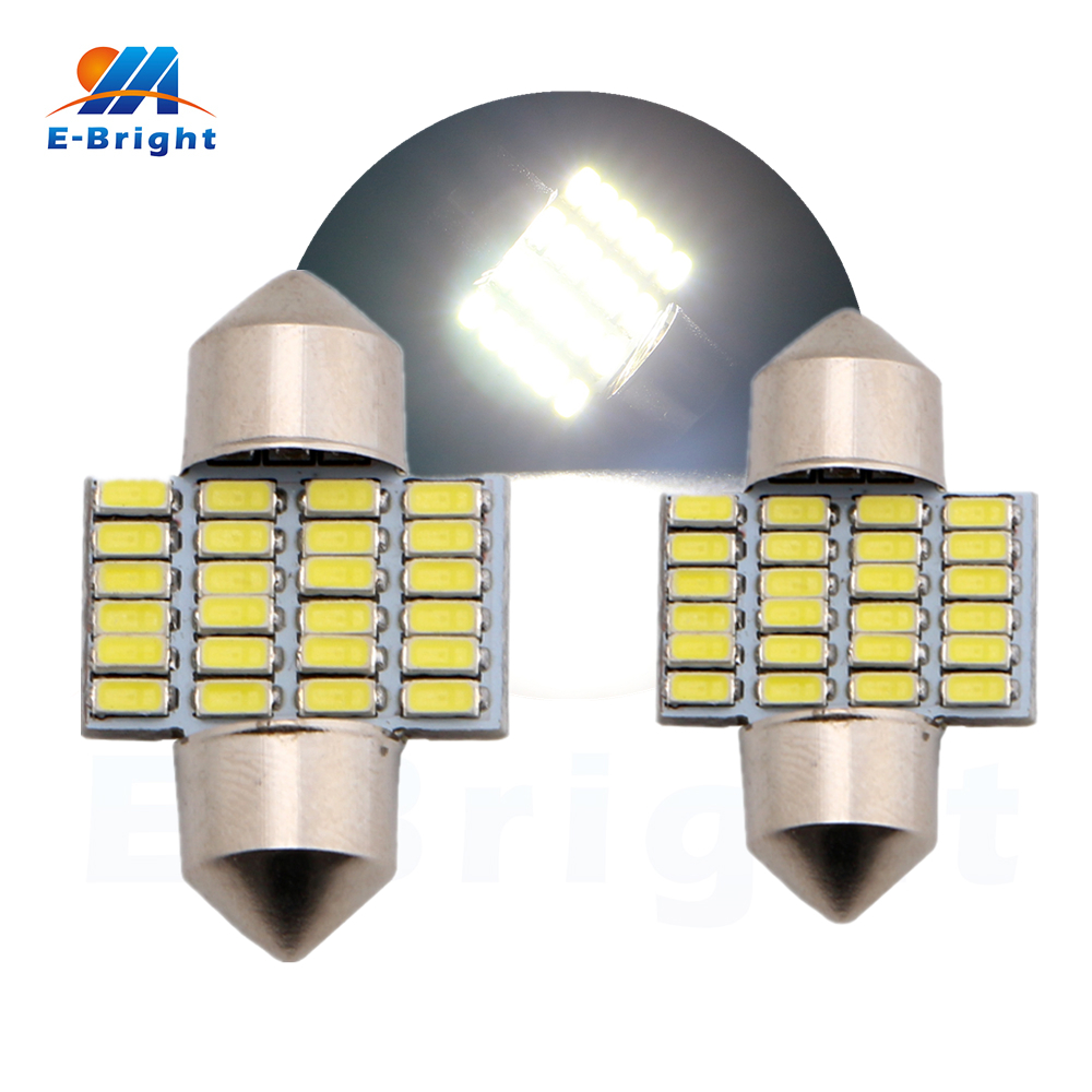 30pcs/lot White 28mm 31mm 12V 3014 24 SMD Festoon Lamp Car LED Light Auto Dome Bulbs Pate Number Reading light Free Shipping