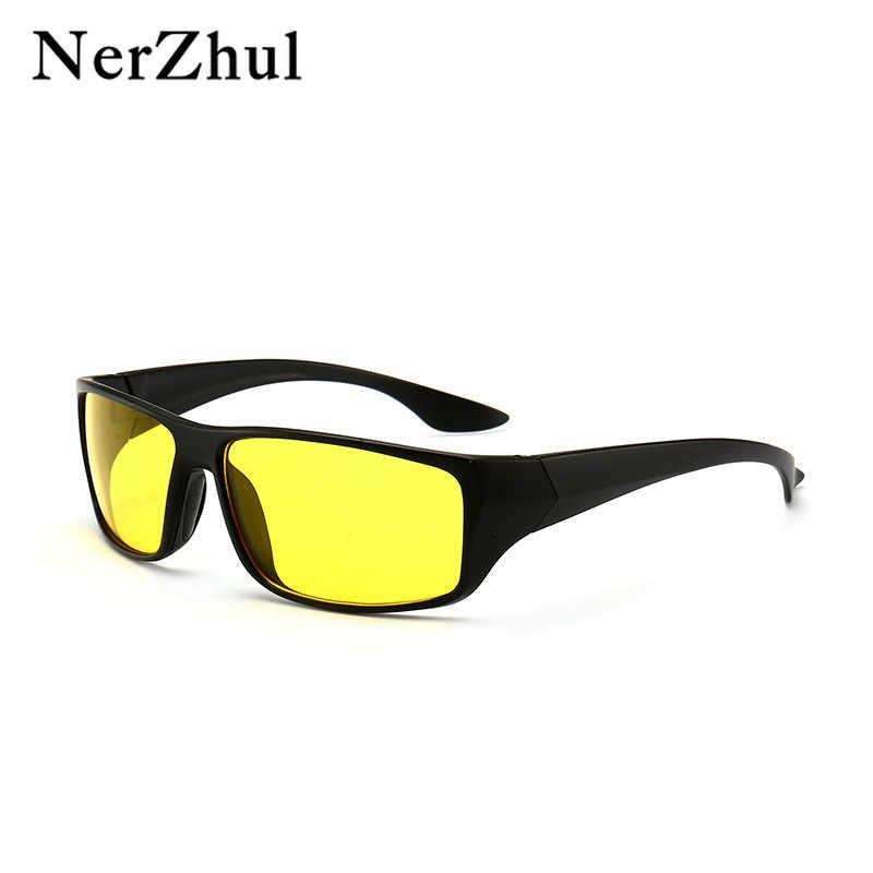 0e8c9cb797 NerZhul pesca hombres gafas de sol clásico Grind amarillo Noche de  conducción gafas de sol Oval