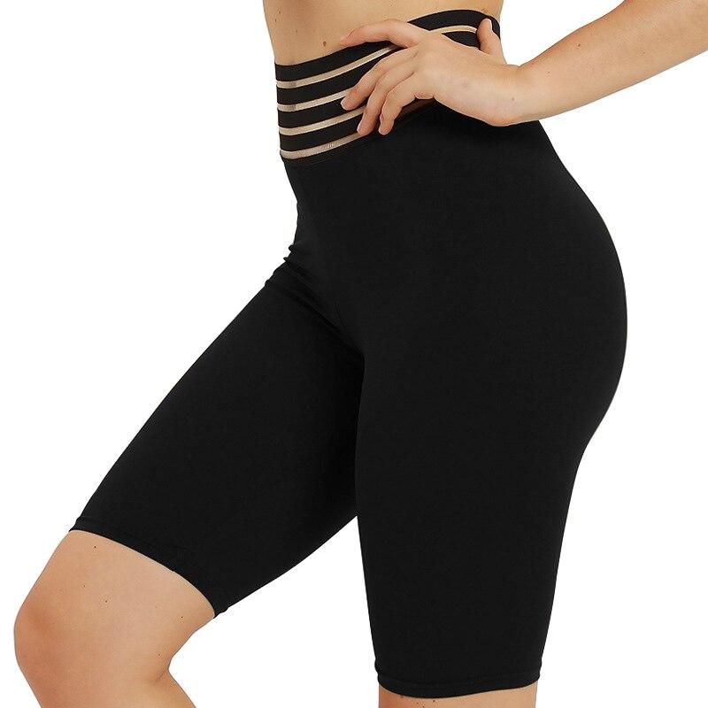NORMOV Summer Fitness Women   Shorts   High Waist Elastic Strip Patchwork Push Up Skinny Black Long   Short   Workout   Shorts   Female
