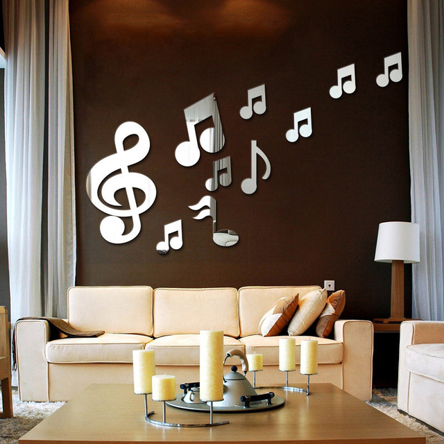 10Pcs/Set Musical 3D Wall Stickers For Kids Rooms Decoracion Mirror Wall  Stickers Home Decor