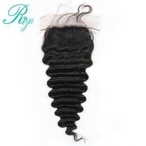 Image 2 - Riya Tóc Brazil Sâu Sóng Silk Cơ Sở Đóng Cửa Lụa Hàng Đầu Đóng Cửa Với Mái Tóc Bé Knots Ẩn Trung Phần Tóc Con Người ren Đóng Cửa