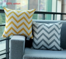 """Promoción 18 """" * 18 """" Home decorativo 100% algodón amarillo gris de Chevron Zig Zag Throw Pillow Case para ropa de cama sofá"""