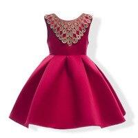 ילדי שמלת ילדה עניבת פרפר גדול אדום וצבע כחול פרפר שמלת ילדי שמלת הכלה כדור שמלת מסיבת קשת זהב רקום שמלת