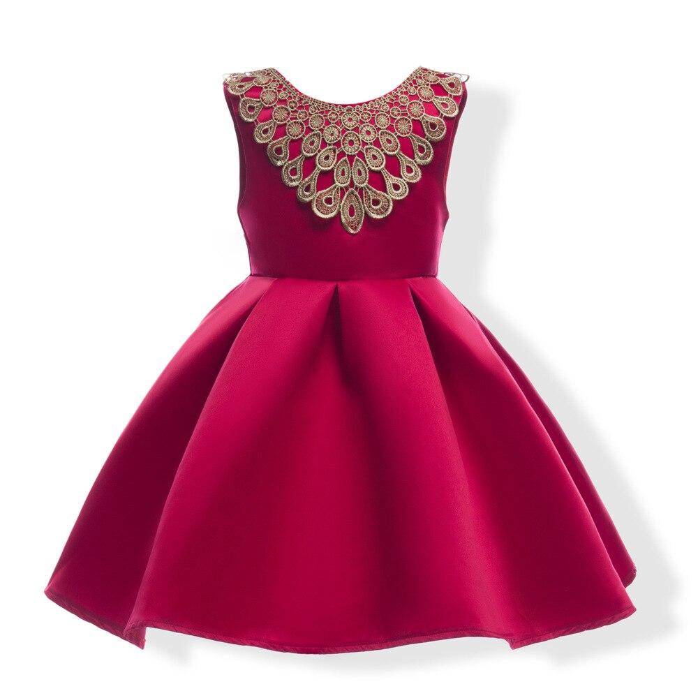 Big Bowtie Girl Dress Children Red Blue color Butterfly Girls Wedding Dress Kids Ball Gown gold