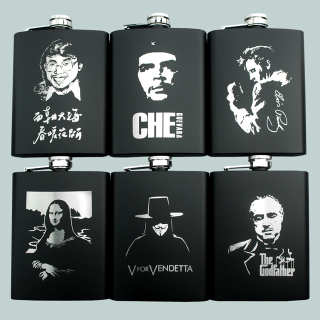 CHE Elvis Skull KGB Godfather Stainless Steel Black Whiskey Vodka 8OZ Ounce Hip flask Portable Flagon Alcohol Bottle With Funnel
