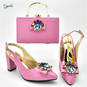 New coming pink lady high heel wedding sandal shoes and bag set decorated with nice stones 108-2 heel height 7cm