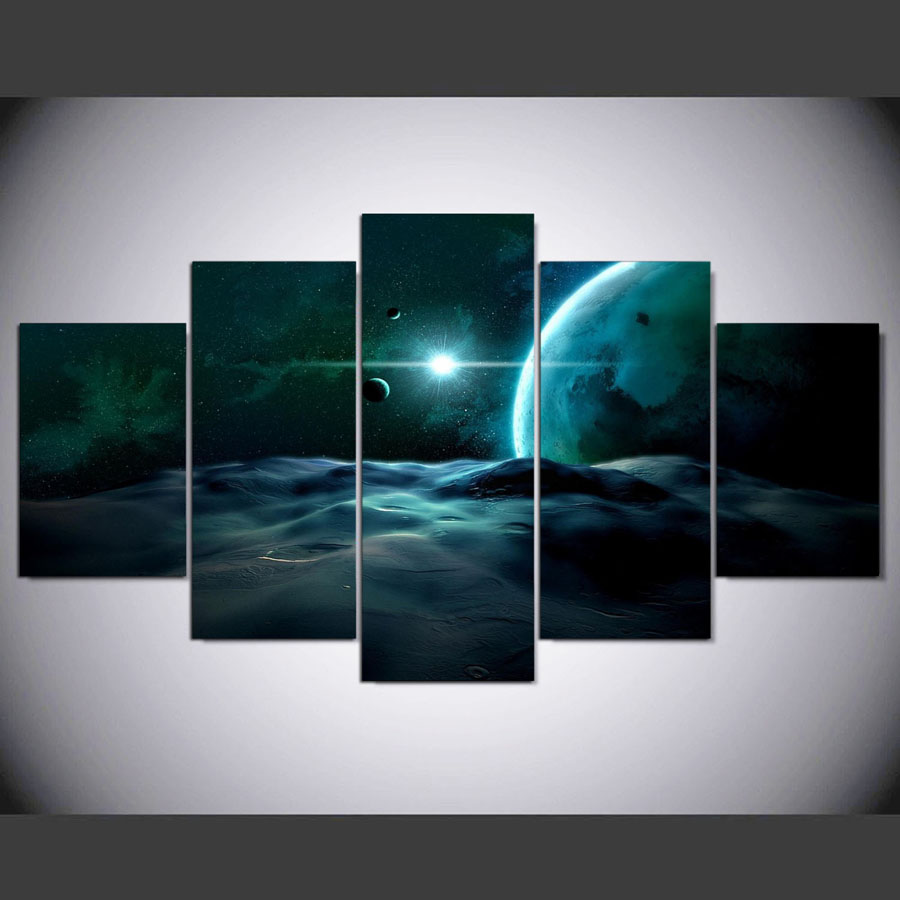 5 Pieces Home Wall Decor Canvas Picture Art Homo Blue Space Planet Sci Fi Hd Print