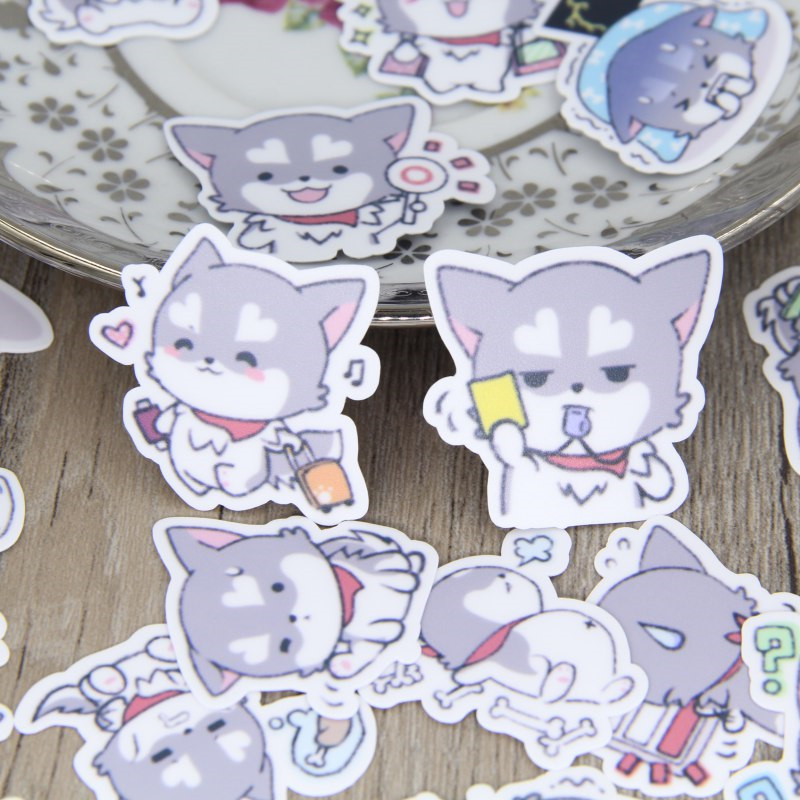 40 Pcs Cute Puppy Expression Stickers For  Fashion Laptop Snowboard Home Decor Car Styling Decal Fridge Doodle Kid Toy Sticker
