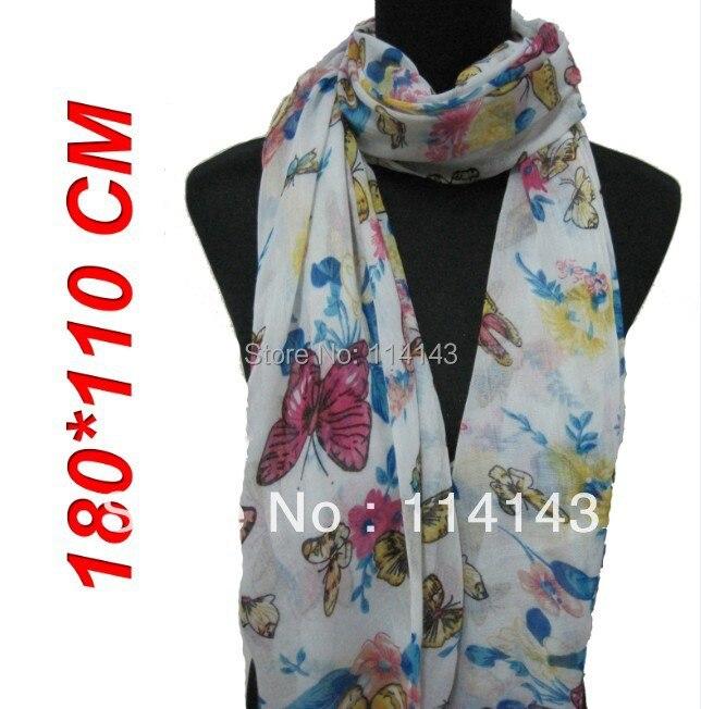 10 шт/лот Модный женский красочный шарф с принтом с бабочками Шаль Обертывание 180 см* 110 см