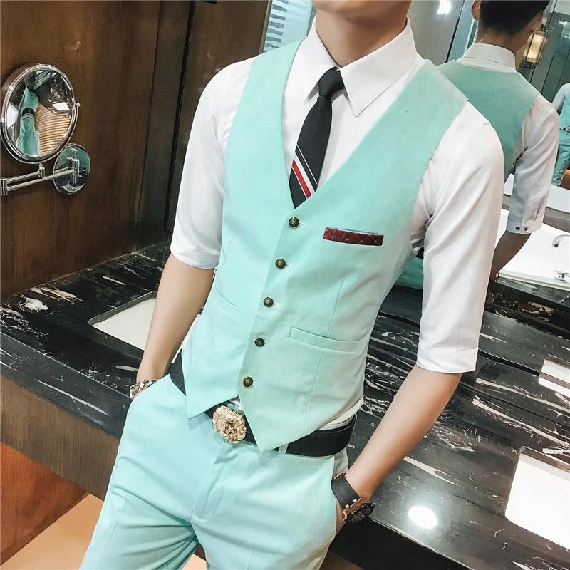 2018 New Mens Suit Vest Business Wedding Man Waistcoat Size S-3XL Suit Vest Men