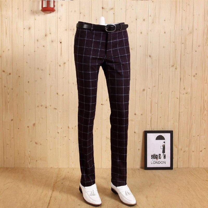 Высококачественные мужские темно-синий, фиолетовый, Зеленый Клетчатый Тонкий деловой костюм джентльмена на молнии длинные брюки Свадебные повседневные брюки жениха