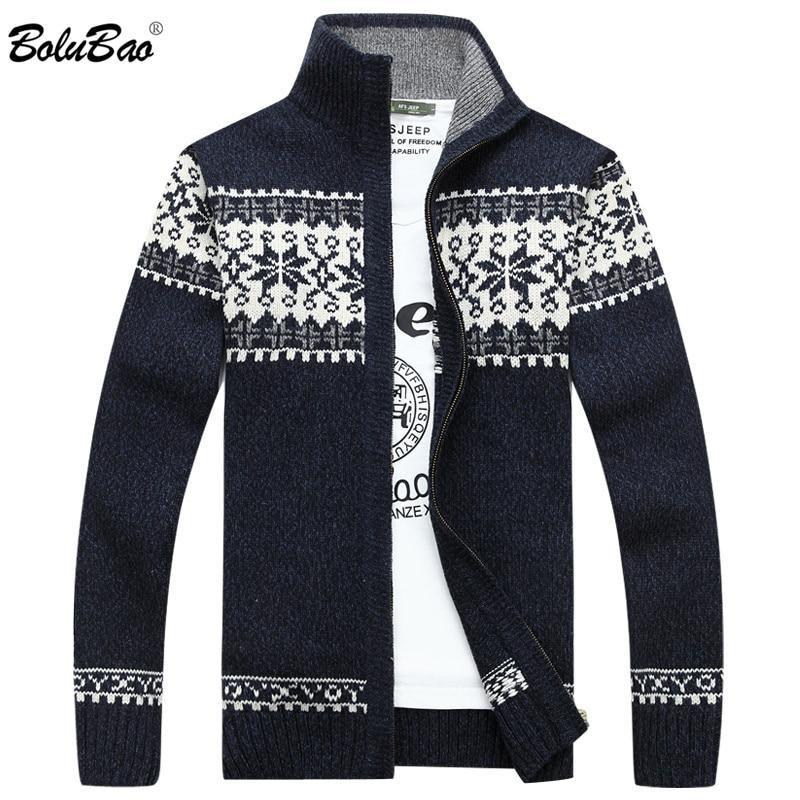 BOLUBAO Men Winter Sweater Men Fashion Brand Quality Thick Warm Sweater Male Casual Slim Fit Cardigan Sweater Coats