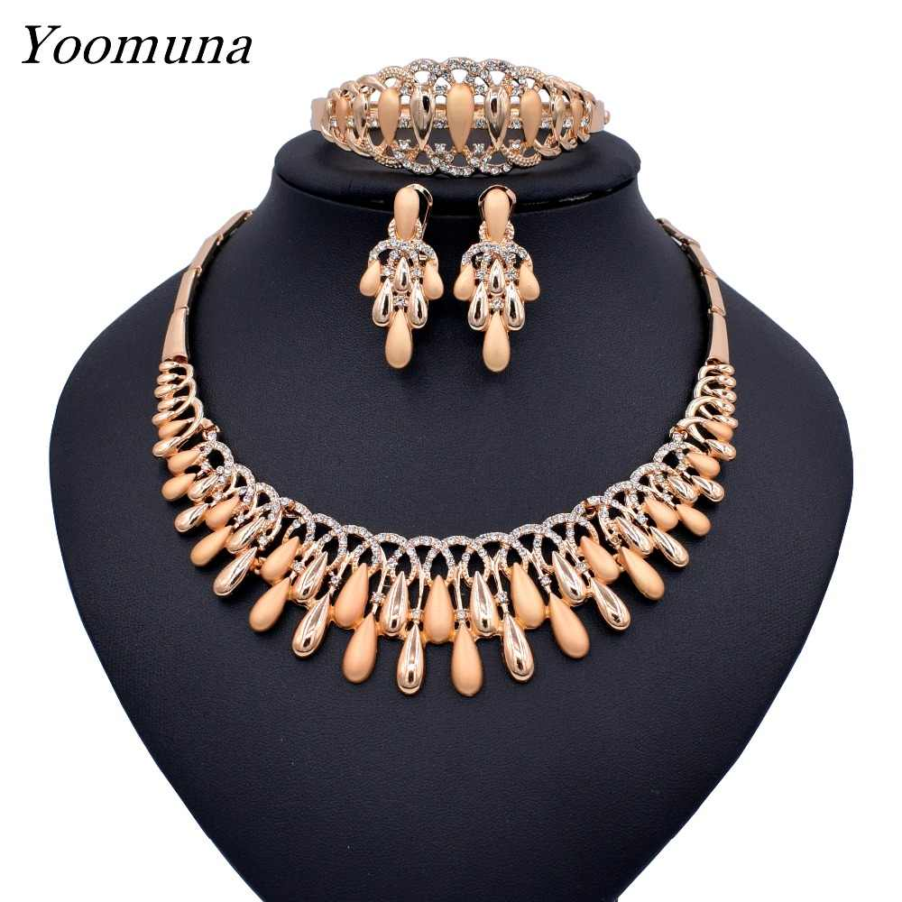 Dubai Elegant Crystal Tassel African Beads Jewelry Sets for Women Gold Color Wedding Necklace Earrings Bracelet Ring Jewellery