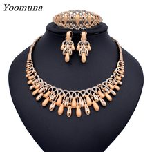 Dubai Elegant Crystal Tassel African Beads Jewelry Sets for Women Gold Color Wedding Necklace Earrings Bracelet Ring Jewellery(China)