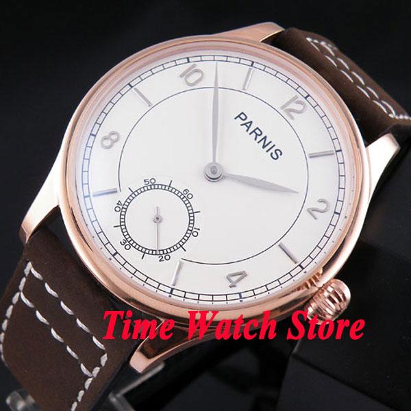 лучшая цена Parnis 44mm white dial silver hands golden case 6498 mechanical hand chain movement Men's watch 237