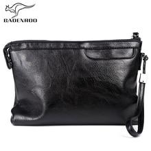 Badenroo New Male bag soft Leather Business Envelope Men