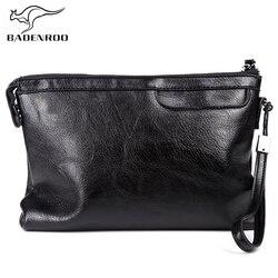 Badenroo novo masculino saco de couro macio negócios envelope bolsa de embreagem dos homens alta qualidade acessível saco grandes tamanhos homens carteiras de pulso sac