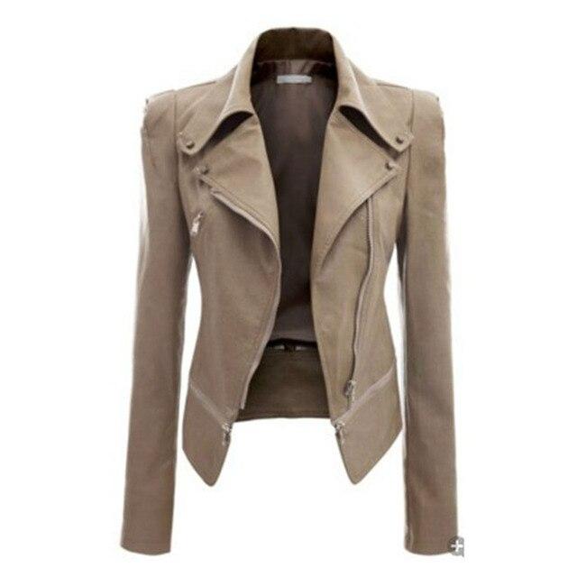 Autumn Women Faux Leather Gothic Black Zippers Long sleeve Jacket 2