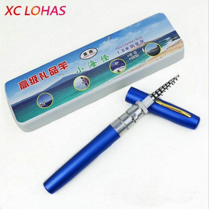 1 x Telescopic Fishing Rod 1.8m Carbon Fiber Portable Pen Fishing Rod For Stream River Boat Fishing 6 Colors Free Shipping удочка fishing rod 1