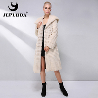 JEPLUDA Hot Sale Real Mink Fur Coat Women Clothes Double Sided With Hood Real Mink Rex Rabbit Real Fur Coat Leather Jacket Women