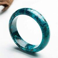 Внутренняя Диаметр 59 мм Натуральная зеленого малахита хризоколла Натуральный камень браслет Браслеты для Для женщин круглый очарование кр