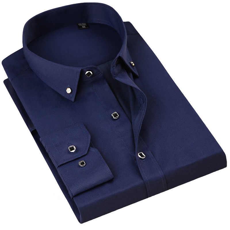 Calidad hombres Casual Camisa de manga larga sólida Slim Fit Hombre Social negocio vestido con botones camisas ropa suave cómoda