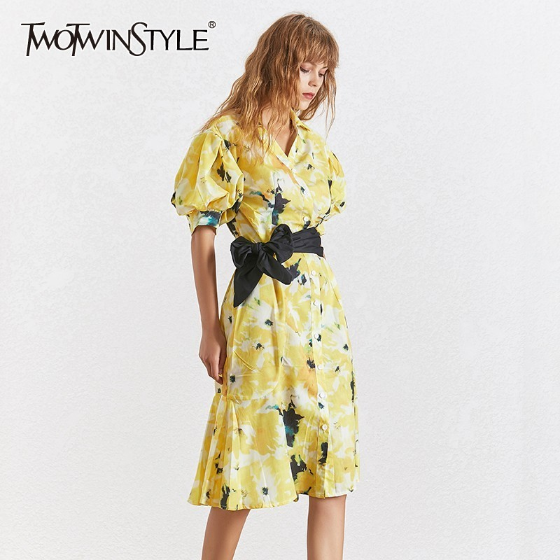 617180640fda4 2019 Autumn woman clothing yellow printed puff sleeve V neck big bow ...