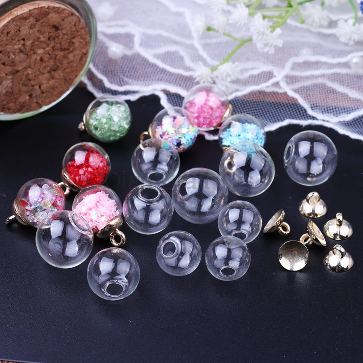30sets 14mm-18mm Empty Glass Globe Ball Glass Orb Plastic Caps Charms Pendants Glass Vials Wish Bottles Glass Orbs With Caps