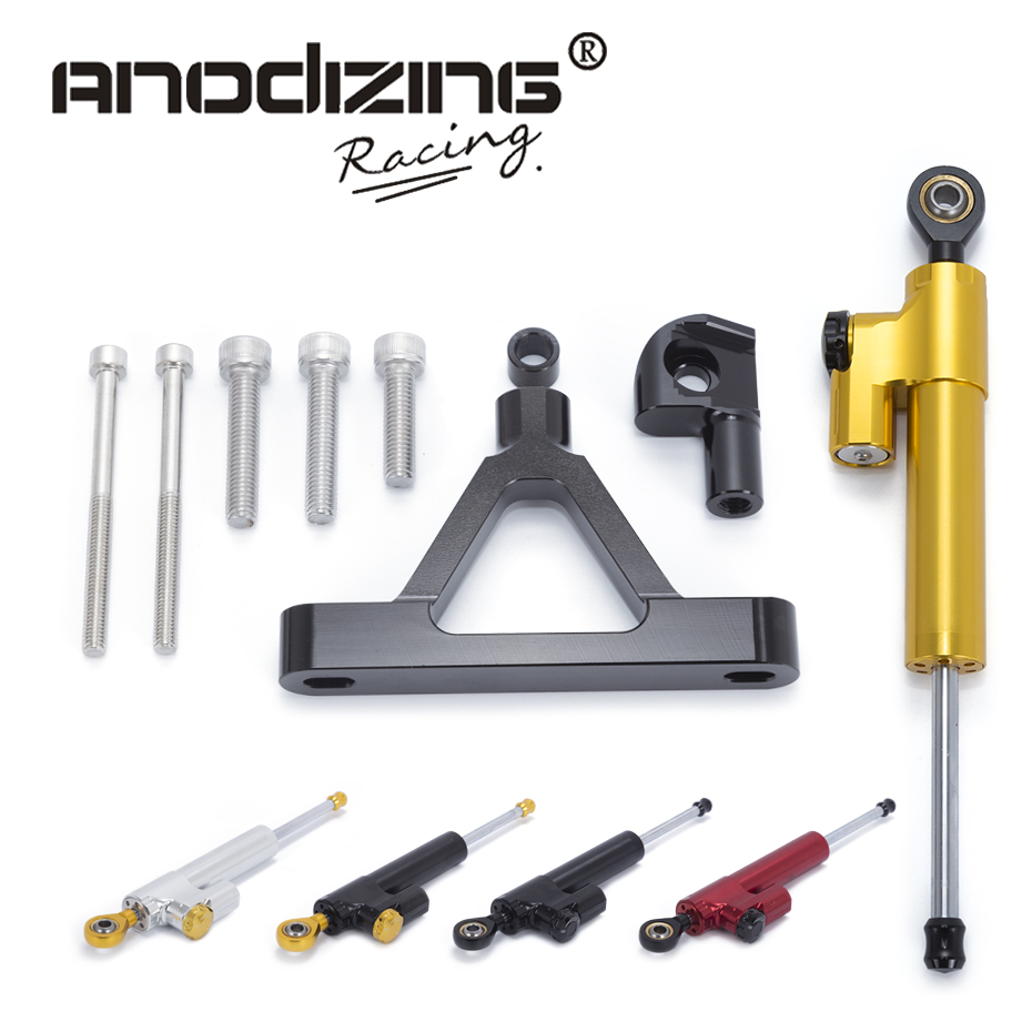 Motorcycle CNC Steering Damper Stabilizerlinear Reversed Safety Control with Bracket for Kawasaki ZX-6R ZX6R 2007 2008 gt motor motorcycle cnc steering damper stabilizerlinear reversed safety control with bracket for yamaha mt09 mt 09 fz 09 13 17