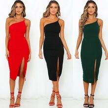 HIRIGIN Off Shoulder Summer Dress Women 2019 Buttons Spaghetti Strap Split High