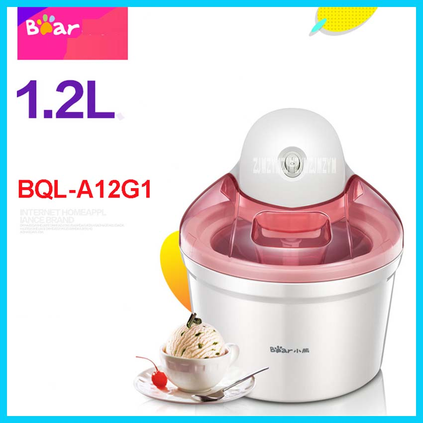 BQL-A12G1 220V /50 Hz Family Fully Automatic Ice Cream Machine  Self Made Fruit Ice  Cream Machine 1200ml 12W Ice Cream Makers home intelligent fully automatic american style coffee machine drip type small is grinding ice cream teapot one machine