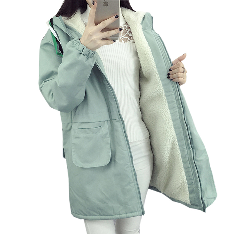 Ladies Lambswool Cotton Jackets Sweet Casual Hooded Jackets   Parkas   Winter Thicken Warm Middle-long Lambswool Cotton Coats FP1757