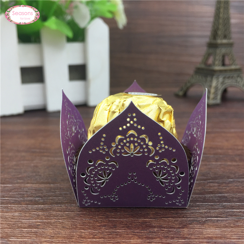 50pcs Lotus Flower Chocolate Wrappers Paper Candy Box Bar Wedding