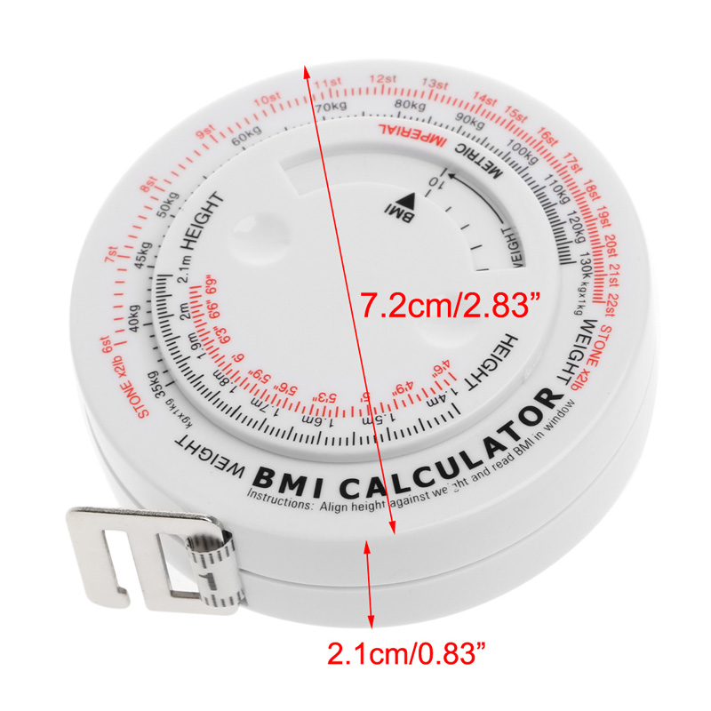 BMI Body Mass Index Retractable Tape 150cm Measure Calculator Diet Weight Loss Tape Measures Tools 1