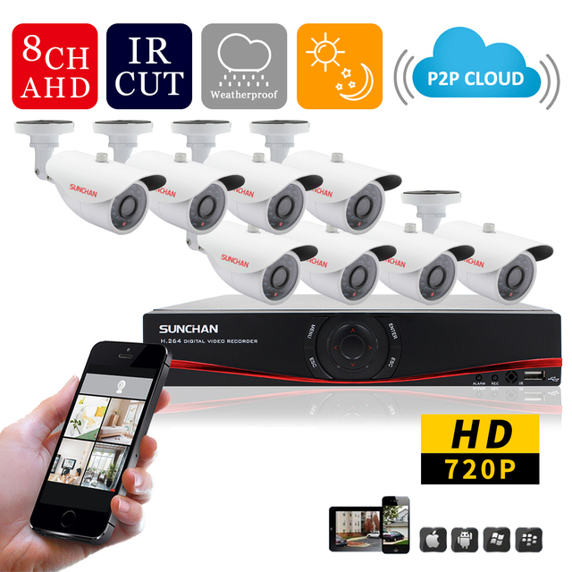 SunChan Home 1.0MP Outdoor CCTV Security Camera System 8Channel AHD ...