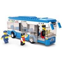 2016 New Sluban City Bus Building Blocks Set DIY Enlighten Christmas Gifts Bricks Toys Compatible LegoINGlys
