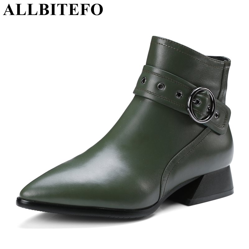 ALLBITEFO genuine leather pointed toe thick heel women boots fashion buckle low-heeled martin boots girls boots size:34-42  allbitefo genuine leather pointed toe thick heel women boots fashion buckle medium heel martin boots ankle boots for woman