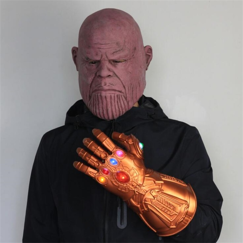 Halloween Thanos Mask Cosplay Props Latex Led Glove Full Face Helmet Women Men Avengers4 Novelty & Special Use Endgame Accessories
