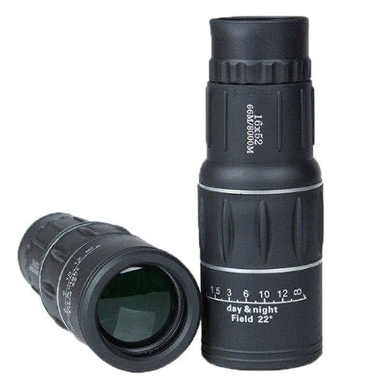 Monocular 16x52 High Power Telescope Black BAK4 Prism Spyglass For Phone Camping Hiking Hunting Tools Telescopio optical instrument