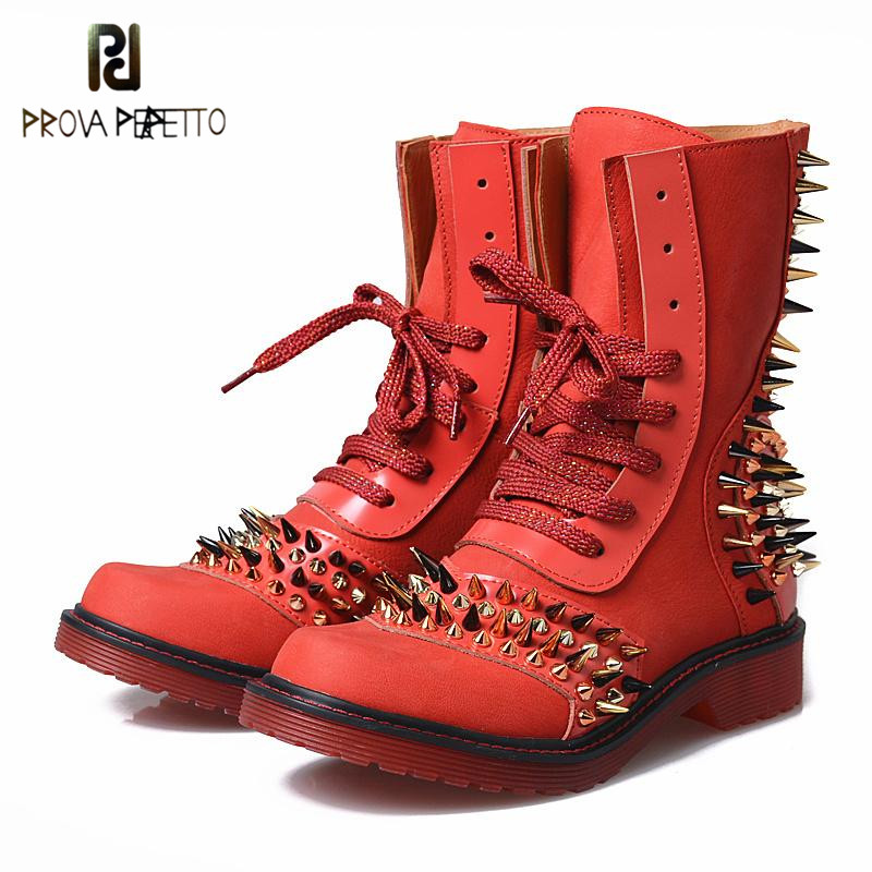 Prova Perfetto Red Color Punk Style Genuine Leather Thick Bottom Woman Mid Boots Solid Round Toe Low Heel Rivet Martin Boots prova perfetto red color punk style genuine leather thick bottom woman mid boots solid round toe low heel rivet martin boots