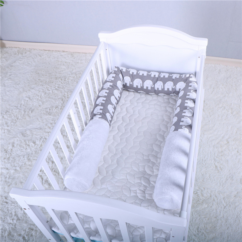 2M Cotton Baby Bumper Bedding Decoration Cute Elephant Printed Safety Toy Cushion Crib Fence Bumper Infant Kids Girls Room Decor