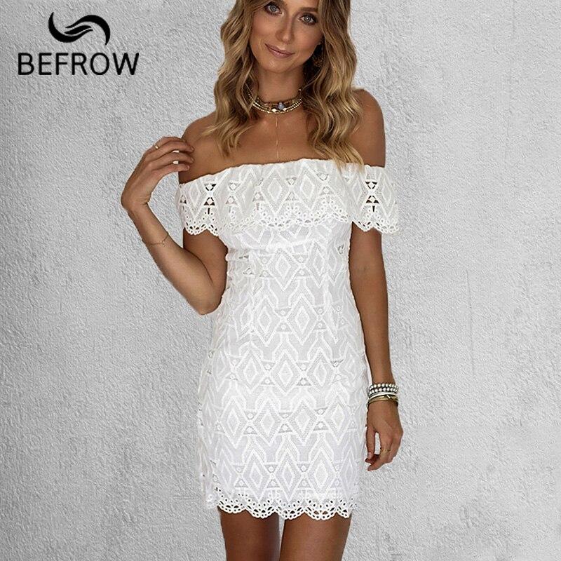 BEFORW 2018 New Summer Women White Lace Stitching Dress Off Shoulder Strapless Bodycon Dress Slash Neck Mini Dresses party