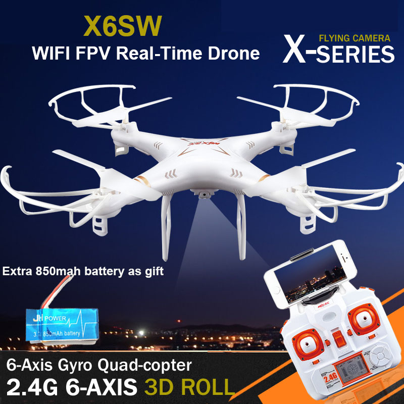 WIFI FPV Camera RC Drone X6SW  Quadcopter Gopro Professional Drones With Camera Free 850mah Battery   VS Syma X5SW MJX X705C