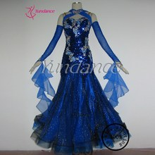 B-1127 High-end Sexy Sequin Royal Blue Ballroom Dance Competition Dresses
