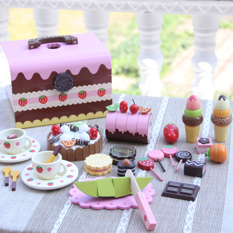 Kitchen Simulation Toys For Children Cake Decorating Wooden Toys Afternoon Tea Set Birthday Cake Baby ToysGift 6pcs set movie trolls 4 3inch height figures toys cake topper kids birthday gift children funny toys