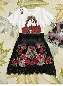 Image 4 - 2020 pista de luxo floral rosa bordado feminino preto natal mini saia inverno cintura alta a linha rendas roupas festa do sexo feminino