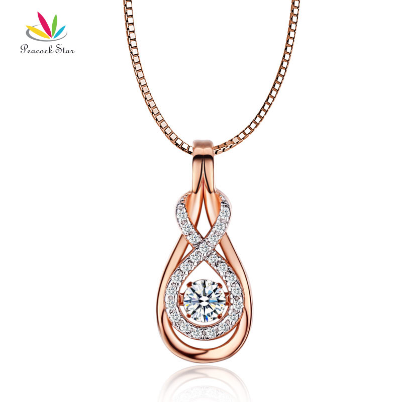 Peacock Star Dancing Stone Pendant Necklace Solid 925 Sterling Silver Rose Gold Color CFN8100 alloy rose flower pendant necklace