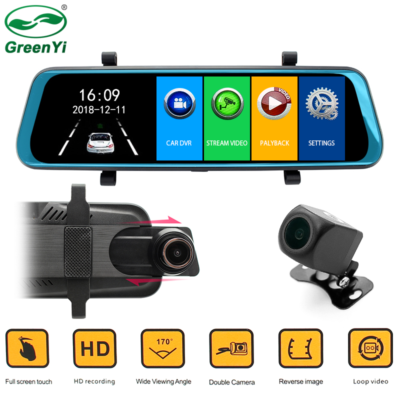 Car DVR Mirror Monitor 1920 1080P 9 68 HD Full Touch IPS Screen With Front Rear