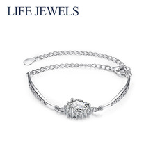 Authentic100% 925 Sterling Silver Crystal Bracelet Zircon Charm l Women Luxury Valentines Day Gift Jewelry 18115